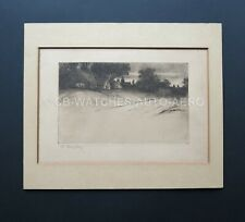 Attractive Original Vintage Etching - Countyside Scene by Edward Hartley Mooney