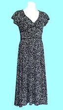 NWOT Positive Attitude Black & White Leaf Print Stretch Knit Dress - 10P Petite