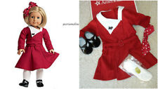 American Girl KIT HOLIDAY OUTFIT~Red Christmas Dress~Shoes~Hair Bow~Ruthie