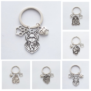 "Dog Breed Keepsakes - Choice 12 pendants  ""🖤my Dog"" & Pawprint charms - Keyring"
