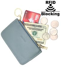 IXYVIA RFID Blocking secure Leather Zip Coin Purse with keychain Greenish Grey