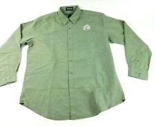 Mens New Belgium Brewing Large 16-16 1/2 Green Solid Logo Long Sleeve Shirt EUC
