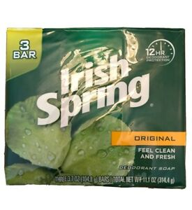 Irish Spring Original 12 Hour Deodorant Bar Soap Clean and Fresh 2-3bar/pack