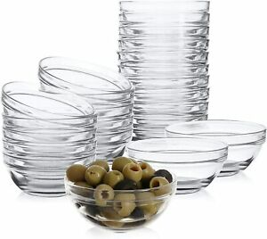 24 Mini 3.5 Inch Glass Bowls for Kitchen Prep, Dessert, Dips, and Candy Dishes