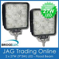2 x 27W LED 12V~24V SQUARE FLOOD/WORK LAMPS-DRIVING/BOAT/4X4/TRUCK/RV/DECK LIGHT