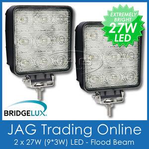 2 x 27W LED 12V~24V SQUARE FLOOD/WORK LAMPS-BOAT/4X4/TRUCK/RV/DECK/DRIVING LIGHT
