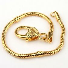 1pcs Gold Plated Heart Snake Chain Bracelet Fit European Charm Beads