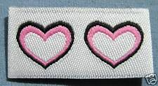 25 PCS WOVEN CLOTHING LABELS, SIZE TAG, CARE LABEL - DOUBLE PINK HEART