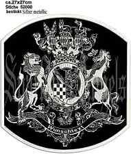Rückenpatch Aufnäher motiv  Wappen mit  Wunschtext Garn silber metallic