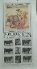 AFFICHE ANCIENNE FETE DE ROQUEFORT LANDES CORRIDA TOROS 1956