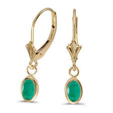 14k Yellow Gold Oval Emerald Bezel Lever-back Earrings