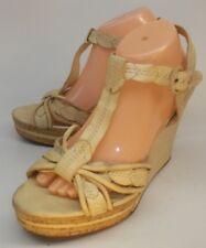 Frye Womens Sandals Wedges SHAY LEAF Tan US 11 M Leather Buckle Slingbacks