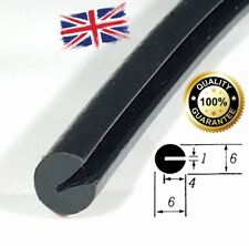 Round BLACK Rubber U Channel Edging Trim Seal 6mm x 6mm