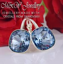 925 SILVER EARRINGS SQUARE FANCY STONE DENIM BLUE 10MM - MADE WITH SWAROVSKI®
