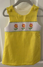 Remember Nguyen Baby Girl's Size 18 Mo Yellow Polka Dot Smocked Dress Lined Euc