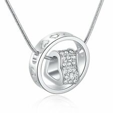 Love Heart Ring Crystal Necklace Xmas Present Gift For Wife Girl  Lady Silver