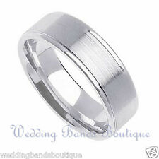 14K WHITE GOLD WEDDING BAND FLAT MEN'S RING SATIN FINSIH CENTER MANS RING 5MM