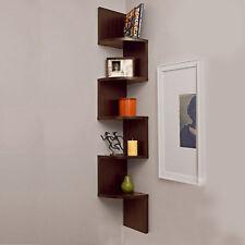 5 Tier Corner Shelf Wall Mount Zig Zag Storage Rack Shelves Floating Display New