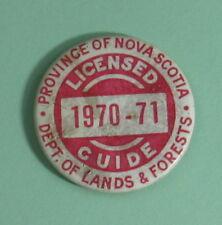 1970 Nova Scotia Canada Dept of Lands & Forests License Guide Pinback Button