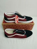 VANS OLD SKOOL BLACK/MAROON LOW SUEDE CANVAS CLASSIC SKATE MENS SIZE 13 NIB