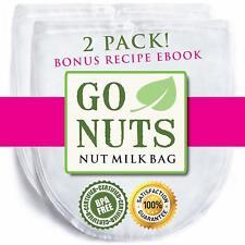 "2-PACK Nut Milk Bag 12"" x 10"" Strainer Filter for Almond Milk"