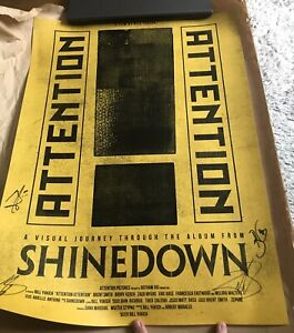 SHINEDOWN - ATTENTION ATTENTION SIGNED YELLOW POSTER  AUTOGRAPHED 18X24