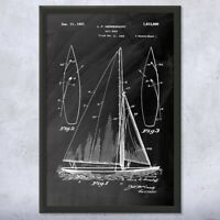Framed Sailboat Print Nautical Gift Sailor Gift Boat Blueprint Yacht Club Art