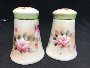 Antique Nippon Hand Painted Salt Pepper Shaker Pink Flowers