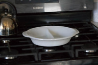 Vintage Fire King 488 White Milk Glass Divided Oval Baking Casserole Dish