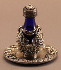 Silver Angel Blue Glass Tear Bottle With Tray #3033-6041