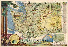 Mid-century Pictorial Map of Washington The Evergreen State Wall Poster Vintage