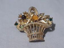 Vintage rhinestone Basket Of flowers Brooch Gold tone Multi colored Rhinestones