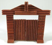 Vintage Oehme & Sohne Holz Salvaje Oeste Fortress Puerta Maqueta 1/32 Timpo Marx
