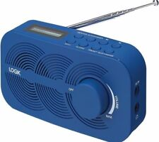 Portable DAB FM Digital Radio LCD Display Mains or Battery & Dual Alarm - Blue