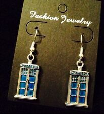 Tardis Earrings Dr Who Police Box Phone Charm Blue Dangle Silver London **UK**