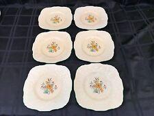 "6 Royal Cauldon Ridgewood Square 8 1/2"" Luncheon Plate England Floral 1900's"