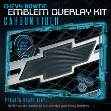 (2) Chevy Bowtie Emblem Overlay Sheets Front Back Vinyl Decal Carbon Fiber BLACK