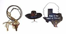 3 Texas Cowboy Hat Cow Metal Christmas Holiday Ornaments Rustic Western