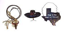3 Texas Cowboy Hat Cow Metal Christmas Holiday Ornaments Rustic Western