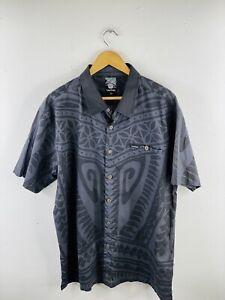 Tribal Origin Men's Short Sleeve Shirt Size 3XL Grey Black Button Up Collared