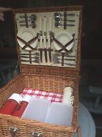 Set 6 Vintage Optima Made in England Wicker Picnic Basket Plates Utensils+Extras