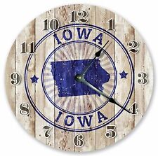 """10.5"""" IOWA STATE STAMP CLOCK - Large 10.5"""" Wall Clock - Home Décor Clock - 3250"""