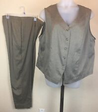 Ruff Hewn Womens Plus Sz 22 Pant Suit Button Down Vest Sleeveless Stretch Waist