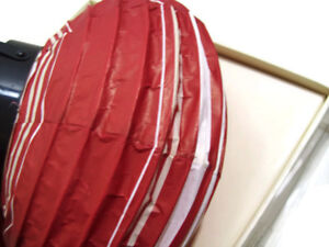 """Pottery Barn Red White Stripes Round Paper Battery Operated Lantern 10"""" New"""