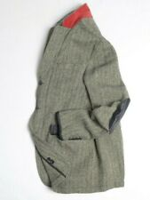 POLO RALPH LAUREN Mens Blazer 42R Jacket Sport Wool Leather Herringbone Hunting
