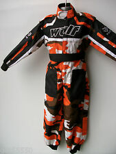 Wulfsport Age 5-6 Orange Camo Kids Off Road Outdoor Play Suit Quad Overalls Sx