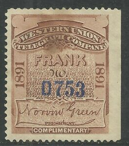 U.S. Revenue Telegraph stamp scott 16t21 - Western Union issue of 1891- mng
