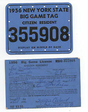 Two 1956 New York State Citizen Resident Big Game Hunting Licences