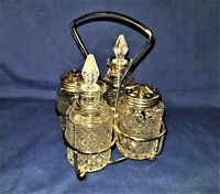 Vintage Pressed Glass Cruet Set - England - Vinegar, Oil, Salt & Pepper