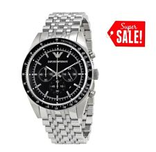 NEW EMPORIO ARMANI  AR5988 TAZIO STAINLESS STEEL SILVER CHRONOGRAPH WATCH MEN'S